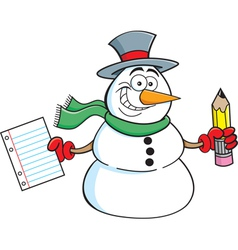 Cartoon Snowman Student vector image