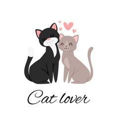 Cat lover lettering cartoon vector