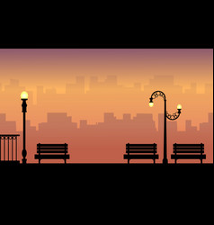 Chair and lamp on the street beauty landscape vector