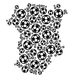 Chechnya map collage of football spheres vector