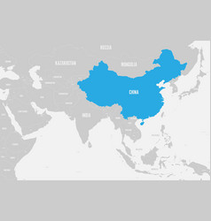 China blue marked in political map southern vector