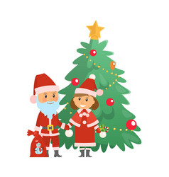 christmas holiday approaching santa claus tree vector image