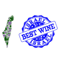 Collage of grape wine map of israel and best wine vector