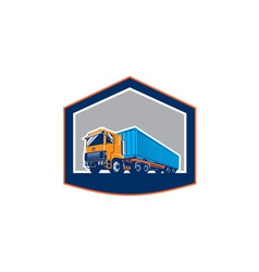 Container Truck and Trailer Shield Retro vector