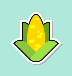 Corn sticker on blue background colorful vegetable vector