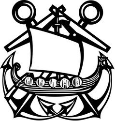 crossed anchor viking vector image