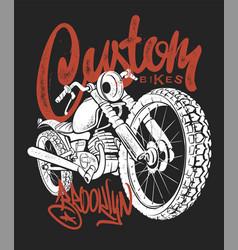 custom bike hand drawn t-shirt print vector image