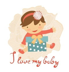 Cute baby with gift box vector