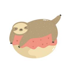 Cute sloth lying on a donut vector