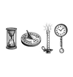 Different types antique clocks vector