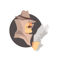Disguised detective character wearing classic vector