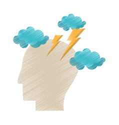 drawing profile head brainstorm intelligence vector image