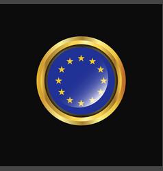 european union flag golden button vector image