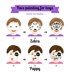 Face painting boys 3 vector