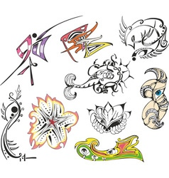 Fantasy tattoo sketches vector
