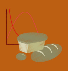 flat shading style icon bread chart vector image
