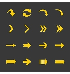 flat yellow set arrows icons vector image