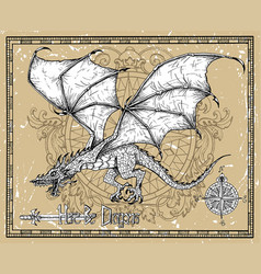 Flying dragon old sword and compass vector