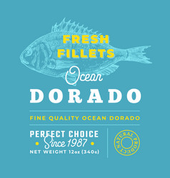 Fresh fillets premium quality label abstract vector