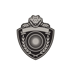 Gator Head Coat of Arms Retro vector