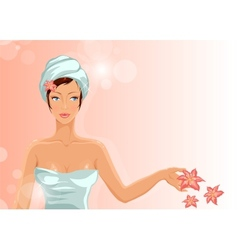 Girl during her spa session vector image