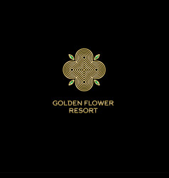 golden flower resort logo vector image