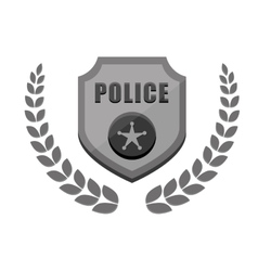 Grayscale police badge icon image vector