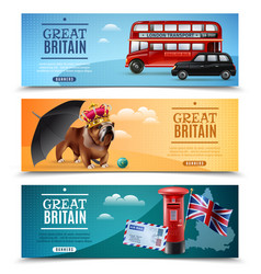 Great britain travel horizontal banners vector