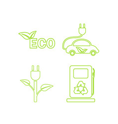 green ecology linear icons set vector image