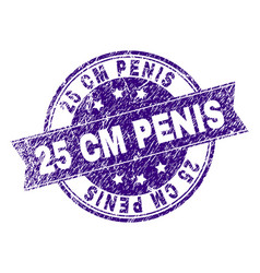 Grunge textured 25 cm penis stamp seal vector