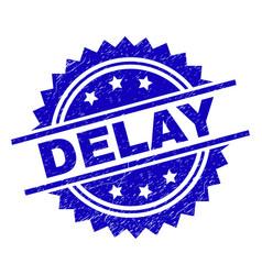 Grunge textured delay stamp seal vector