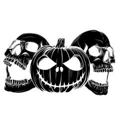 Halloween monsters skull pupmkids isolation vector