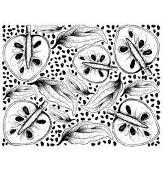 Hand drawn background of ripe cherimoya fruits vector