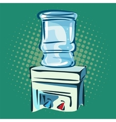 Hand drawn pop art of water cooler vector
