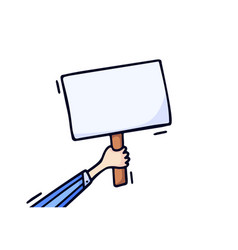 Hand holding blank plate draw doodle style vector