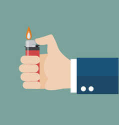 Hand holding lighter vector
