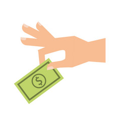 hand human with bill money isolated icon vector image