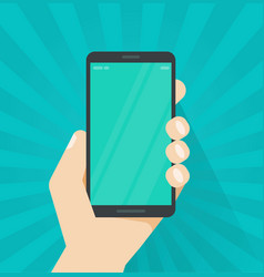 Hand with mobile phone flat vector