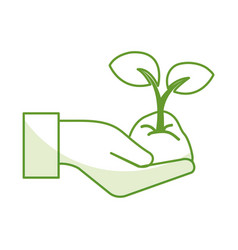 Hands with leafs plant ecology icon vector