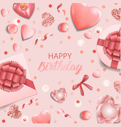 Happy birthday a pink greeting square card vector