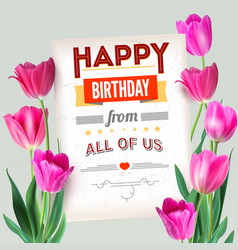 happy birthday vintage text poster composition vector image