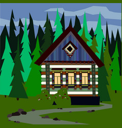 House in a dense forest easy editable vector