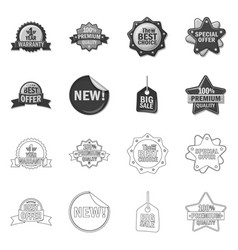 isolated object of emblem and badge sign set of vector image