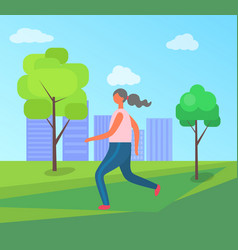 jogging in city park woman running in sportswear vector image