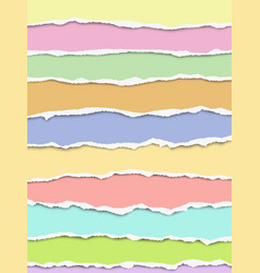 layered oblong torn different pastel color paper vector image