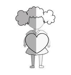 line pretty girl with heart in the hand and casual vector image