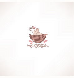 little cute cartoon bird in nest doodle line vector image
