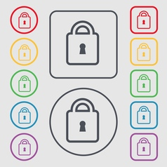 Lock icon sign symbol on the Round and square vector image