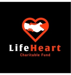 Logo helping hand life in heart charitable vector