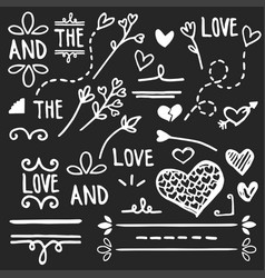love elements black arrows and hearts vector image